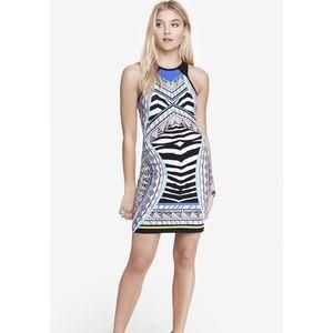 NWOT Express Blue Placed Zebra Print Sheath Dress